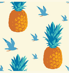 summer seamless pattern with pineapples and gulls vector image