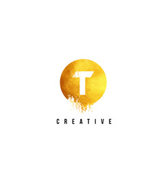 T gold letter logo design with round circular vector