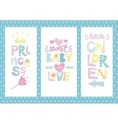 Three children s layout with labels Princess Baby vector image