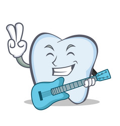tooth character cartoon style with guitar vector image