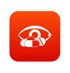 treatment of the eye icon digital red vector image