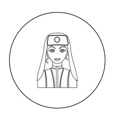 Turkish woman icon in outline style isolated on vector