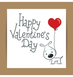 Valentines card with dog and ballon vector