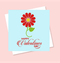 valentines day card with flower vector image