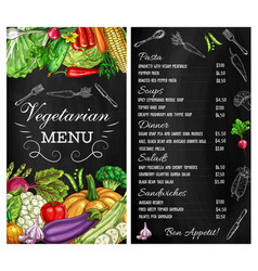 Vegetables menu salads sketch vegetarian food vector