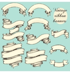 Vintage ribbon banners hand drawn set vector