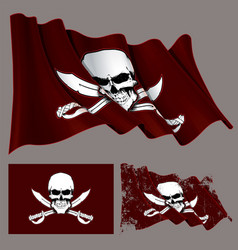 Waving pirate flag skull and swords vector