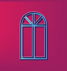 window simple sign blue 3d printed icon vector image