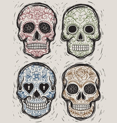 woodcut day dead sugar skull set vector image