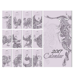 calendar 2017 year with mythical birds vector image