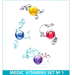 colored shiny medic circle pills set isolated vector image