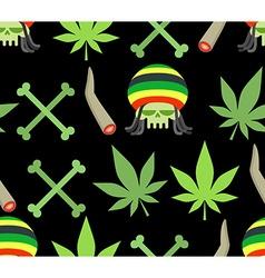 Jamaica drugs seamless pattern Rasta skull and vector image vector image