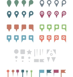 map pins flat white vector image