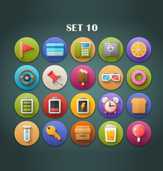 Round bright icons with long shadow set 10 vector