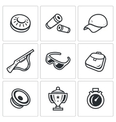 Set of Clay Shooting Icons Plate Bullet vector image vector image