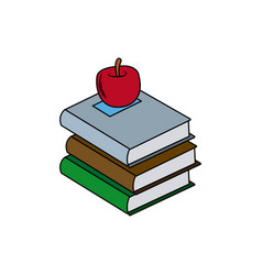 back to school books apple elements vector image vector image