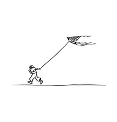boy running with a kite sketch hand vector image