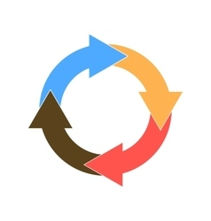 circle of four colored arrows vector image vector image