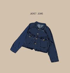 hand-drawn object sketch denim jacket jean vector image vector image