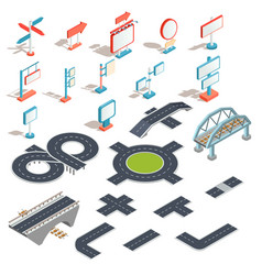 isometric icons of billboards advertising vector image vector image
