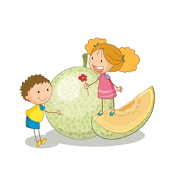 Kids and vegetable fruit vector