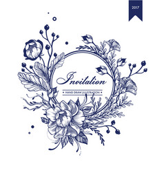 monochrome invitation floral card template vector image