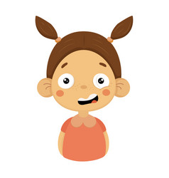 puzzled little girl flat cartoon portrait emoji vector image vector image