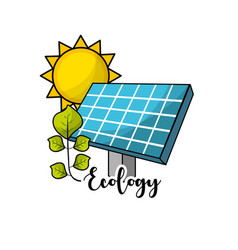Solar energy with leaves and sun to environment vector