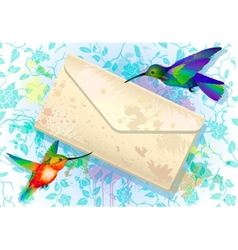 Colorful hummingbirds with grunge envelope vector image