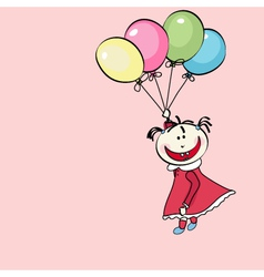 happy little girl flying with the balloons vector image vector image