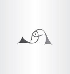 black fish logo sign element vector image vector image