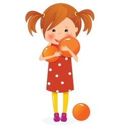 Little girl with orange ball vector image vector image