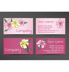 Pink business cards template with lily flowers vector image