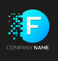 Realistic letter f logo in colorful circle vector