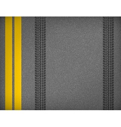 Tire tracks on road vector image vector image