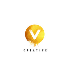 v gold letter logo design with round circular vector image