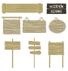 Wooden signs set of wood signboards vector image