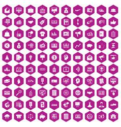 100 e-commerce icons hexagon violet vector