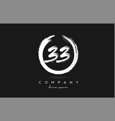 33 number logo icon in black and white vintage vector