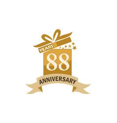 88 years gift box ribbon anniversary vector