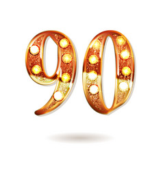 90 years gold anniversary vector image