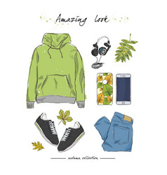 A set of autumn outfit with accessories hoodies vector