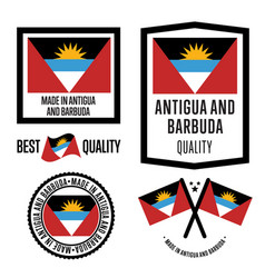antigua and barbuda quality label set for goods vector image