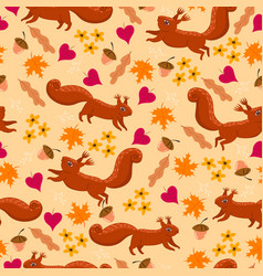Autumn seamless pattern with squirrels vector