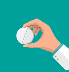 big pill in hand of doctor vector image