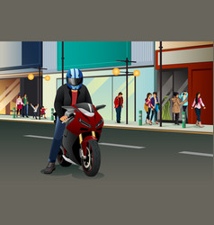 biker riding motorbike vector image