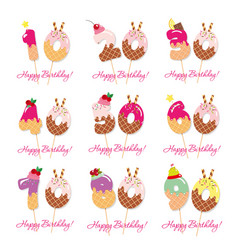 birthday anniversary set festive sweet numbers vector image