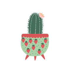 blooming cactus house plant growing in cute vector image