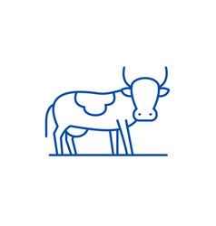 bull line icon concept bull flat symbol vector image