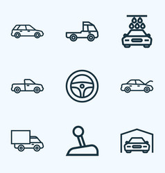 Car icons line style set with pickup truck prime vector